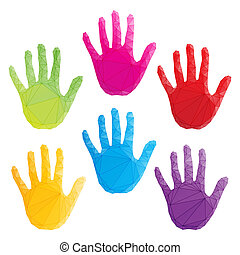 colorful hand prints vector isolated on white, poligonal art