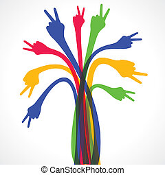 colorful hand show the victory sign