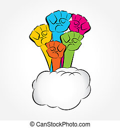 colorful hand show unity