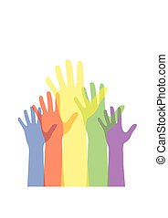 Colorful hand up isolated on white background. Vector illustration