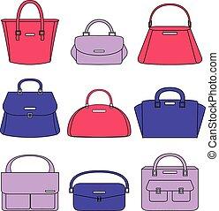Colorful handbags illustration on white background