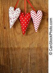 colorful handmade fabric hearts