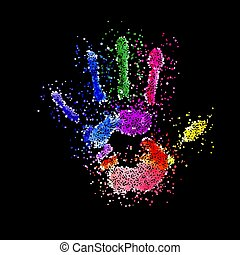 Colorful Handprint of Dots. Rainbow Colors Dots Shape of a ...