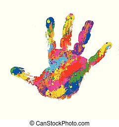 Colorful  handprint on white background