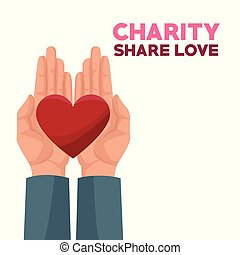 colorful hands charity share love holding in palms a heart