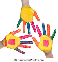 Colorful hands, children fun and leisure concept