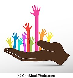 Colorful Hands in Big Hand Vector
