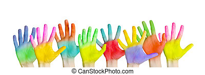 Colorful hands - Isolated colorful hands on background