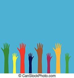 colorful hands on a blue background