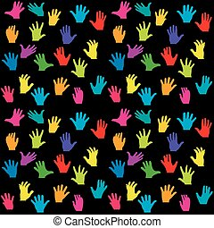 Colorful hands on black background