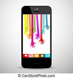 Colorful Hands on Mobile Phone Screen. Social Media App Vector Symbol.