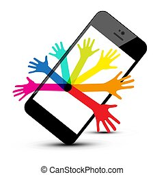 Colorful Hands on Phone Isolated on White Background. Vector Social Media Symbol.