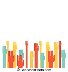 Colorful hands raising - Illustration of colorful hands...