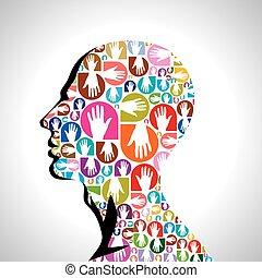 colorful hands shape of human head
