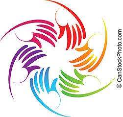 Colorful hands teamwork logo