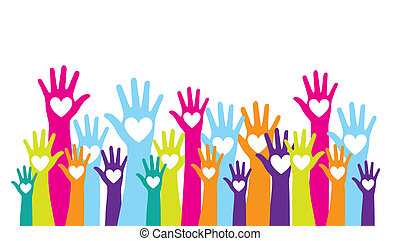 hands up - colorful hands up with hearts over white...