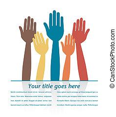 Colorful hands volunteering.