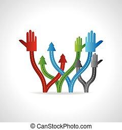 hands with arrow
