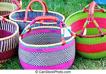 Colorful handwoven baskets - 2 - Colorful handwoven baskets ...