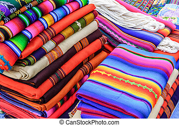 Colorful handwoven Guatemalan textiles - Typical brightly ...