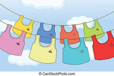 Colorful hanging clothes - Illustration of the colorful...