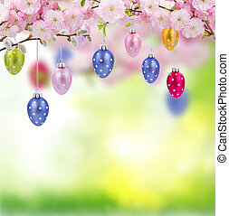 Colorful hanging easter eggs