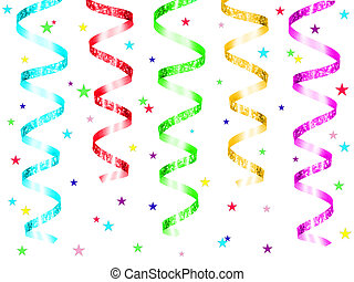 Colorful hanging party ribbon with confetti isolated on a...