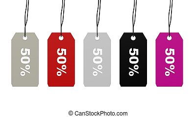 Colorful hanging sales tags with fifty percent discount...