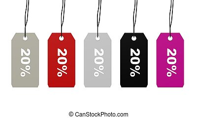 Colorful hanging sales tags with twenty percent discount...