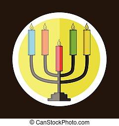 Colorful Hanukkah Symbol Sticker