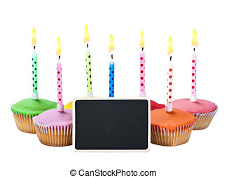 colorful happy birthday cupcakes with candles