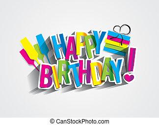 Happy Birthday - Colorful Happy Birthday Greeting Card ...