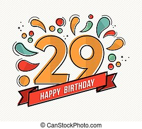 Colorful happy birthday number 29 flat line design - Happy...