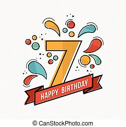 Colorful happy birthday number 7 flat line design