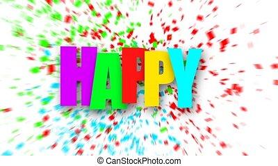 Colorful Happy birthday sign over confetti. - Colorful Happy...