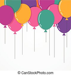 Colorful Happy Birthday with balloons, poster, greeting card
