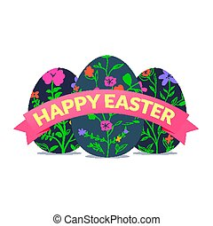 Colorful Happy Easter banner