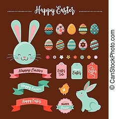 Colorful Happy Easter collection of icons with rabbit,...