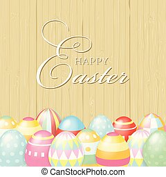Colorful Happy Easter greeting card with eggs and lettering elements composition on a wooden background. EPS10 vector file organized in layers for easy editing