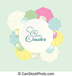 Colorful Happy Easter greeting card with flowers eggs and lettering elements composition. EPS10 vector file organized in layers for easy editing.