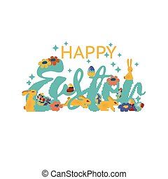 Colorful happy Easter greeting card with flowers eggs carrot and rabbit elements composition. EPS10 vector file organized in layers for easy editing.