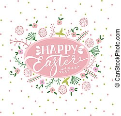 Colorful Happy Easter greeting card with flowers.