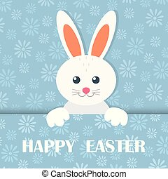 Colorful Happy Easter greeting card with rabbit, banners, hare. Vector.