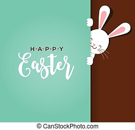 Colorful Happy Easter greeting card with rabbit, bunny, eggs...