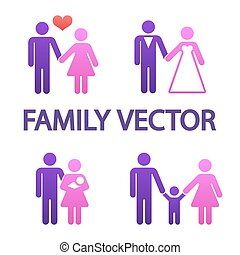 Colorful happy family icons
