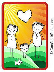 hand writting illustration of a happy family of three and their dog. Vector format available