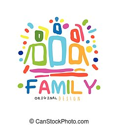 Colorful happy family logo design template