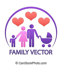 Colorful happy family logo - parents with child and baby