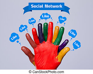 Colorful happy finger smileys with social network sign and ...