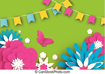 Colorful Happy Floral Greeting Card Paper Cut Flowers Butterfly Origami Flower Flag
